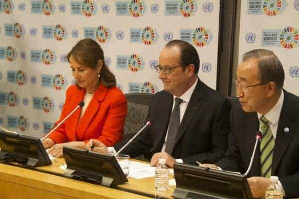 At the UN on Earth Day, from left, Ségolène Royal, a French government minister; Francois Hollande, president of France; Ban Ki-moon; and Christiana Figueres.