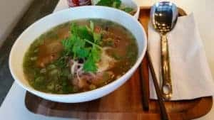 Grilled-chicken pho with a balance of textures, flavors and colors. IRWIN ARIEFF